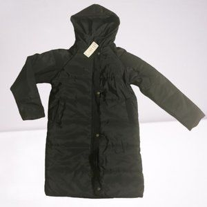 New YLXMT Hooded Black Mid Thigh Puffer Coat
